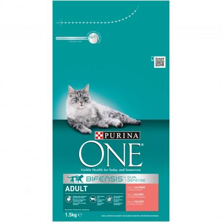 Purina One Pienso para Gato Adulto rico en Salmón y Cereales Integrales