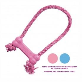 Kong Puppy Goodie Bone con Cuerda Rosa - Azul