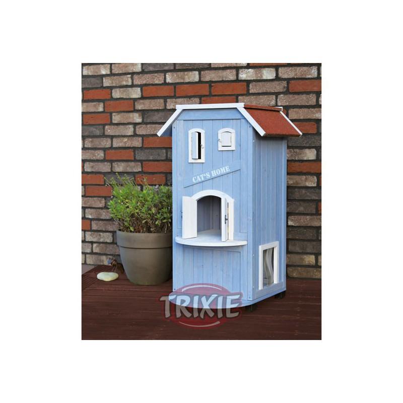 Caseta exterior gatos 56x94x59cm azul claro blco - Caseta de exterior ...